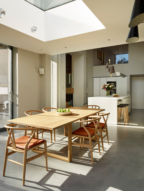 Modern Kitchen/dining Room In London With Grey Walls And Concrete Flooring. Part 91