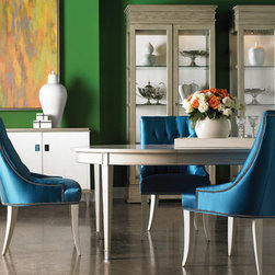 Lillian August (Vendors) - Lillian August Furniture: Sutton Dining Table, Ally Court Chairs, Sterling Curio Cabinet, *Available in additional fabrics and finishes
