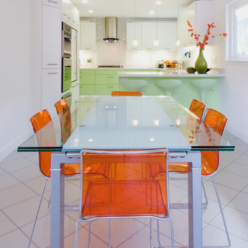 lime mint green color kitchen in Belmont