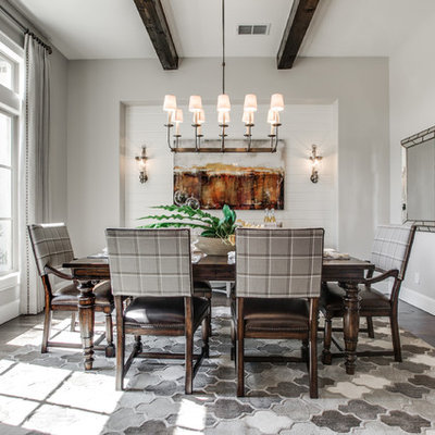 Enclosed dining room - transitional dark wood floor enclosed dining room idea in Dallas with gray walls and no fireplace