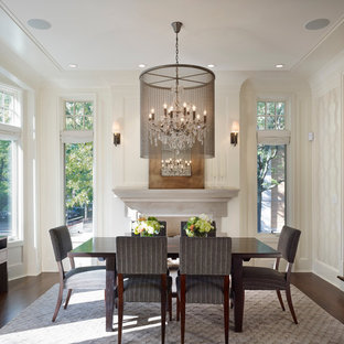 This is an example of a large traditional enclosed dining room in Chicago with white walls, dark hardwood flooring, a standard fireplace and a stone fireplace surround.
