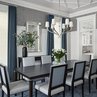 Mid-sized elegant dark wood floor and brown floor enclosed dining room photo in Chicago with gray walls and no fireplace