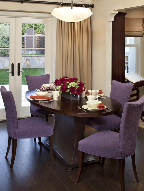 Example Of A Classic Dark Wood Floor Dining Room Design In San Francisco  With Beige Walls