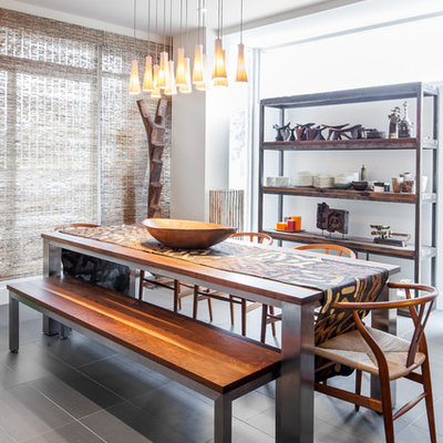 Trendy dining room photo in Toronto with white walls