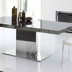 Lingotto Table - Top of the line Italian dining table with Extension. Steel frame. Top finished in Polished Black Oak, White, Glossy Black Pearl, and Black Acid Treated with satin texture. Central wooden leaf in matching color.