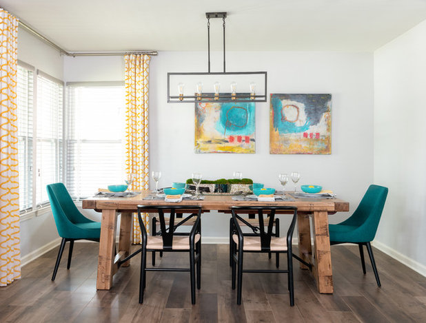 Transitional Dining Room by MMI Design