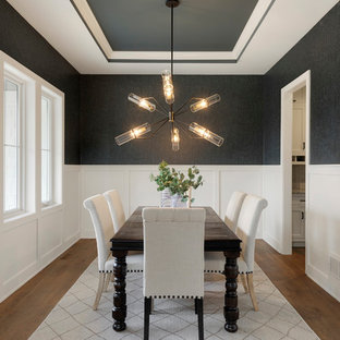 Example Of A Large Transitional Medium Tone Wood Floor And Brown Floor  Enclosed Dining Room Design