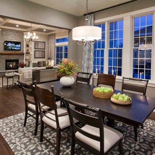 Elegant dark wood floor dining room photo in Philadelphia with gray walls