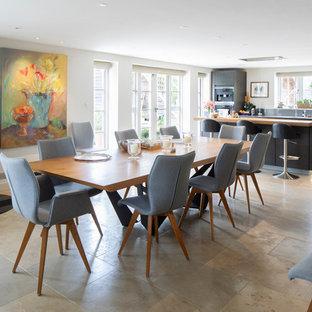 Cette photo montre une grand salle à manger ouverte sur le salon chic avec un mur blanc, un sol en calcaire, un poêle à bois et un sol rose.