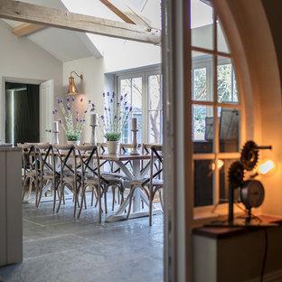 Свежая идея для дизайна: большая кухня-столовая в викторианском стиле с серыми стенами, полом из известняка и серым полом - отличное фото интерьера