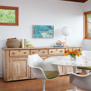Example of a midcentury modern medium tone wood floor dining room design in San Francisco with white walls