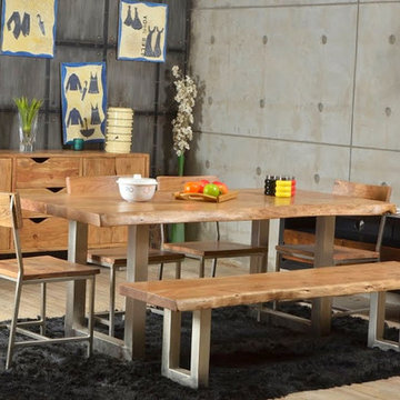 Live Edge Single Slab Modern Rustic Industrial Iron Base Dining Table & Bench