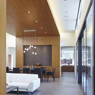 Idées déco pour une grand salle à manger contemporaine avec un mur blanc, béton au sol et une cheminée d'angle.