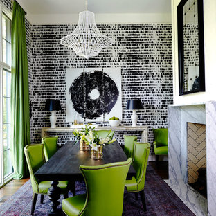 Example of an eclectic dining room design in Nashville with multicolored walls, a standard fireplace and a stone fireplace