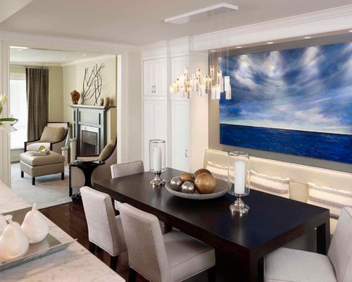 Example Of A Mid Sized Trendy Great Room Design In Toronto With White Walls And