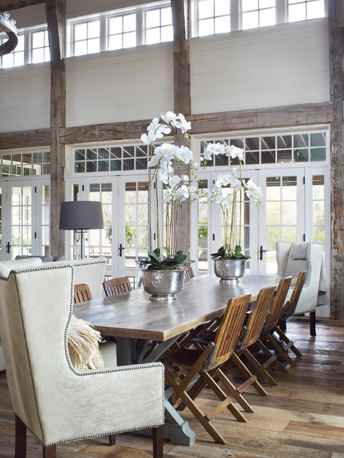 Large Great Room Ideas Part - 18: Large Farmhouse Medium Tone Wood Floor And Brown Floor Great Room Idea In  Nashville With White