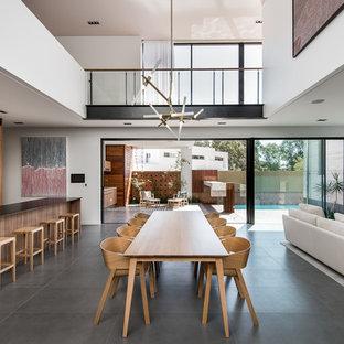 Foto di un'ampia sala da pranzo contemporanea con pareti bianche e pavimento con piastrelle in ceramica