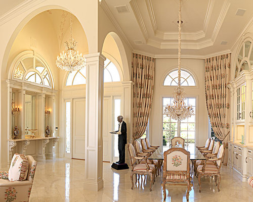 Simple Arch Dividing Large Living Room