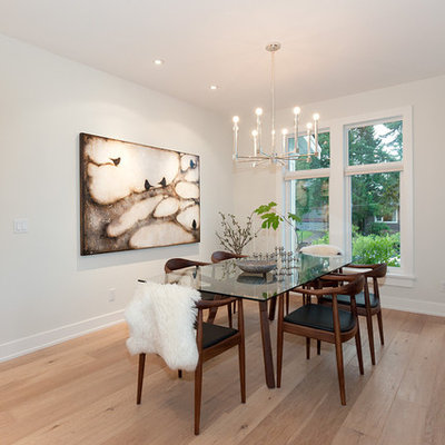 Inspiration for a contemporary dining room remodel in Vancouver with white walls