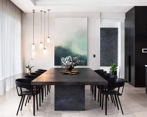Superior Design Ideas For A Modern Open Plan Dining In Perth With Grey Walls And  Grey Floor