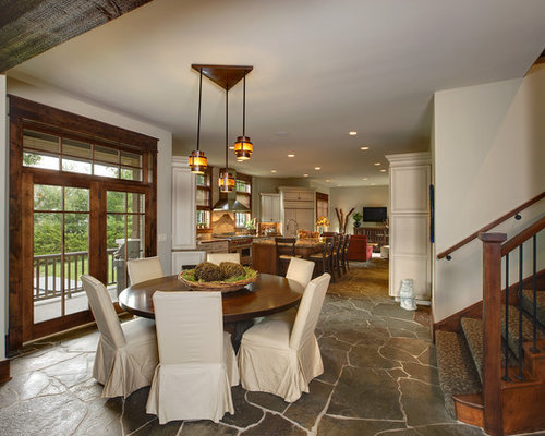 Example Of A Mountain Style Slate Floor Great Room Design In Chicago With  Beige Walls