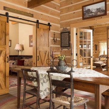 Log Home Sun Room Modern-Day Farmhouse