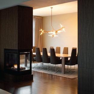 Неиссякаемый источник вдохновения для домашнего уюта: отдельная столовая среднего размера в стиле модернизм с белыми стенами, темным паркетным полом, двусторонним камином и фасадом камина из дерева