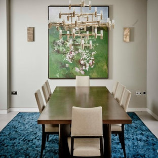 Design Ideas For A Traditional Dining Room In London With Beige Walls.
