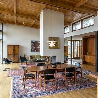 Diseño de comedor retro, de tamaño medio, abierto, con paredes blancas, chimenea de doble cara, suelo de madera clara, marco de chimenea de hormigón y suelo marrón
