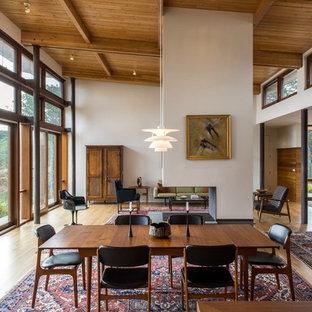 Diseño de comedor retro, de tamaño medio, abierto, con paredes blancas, suelo de madera clara, chimenea de doble cara, marco de chimenea de hormigón y suelo marrón