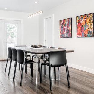 Esempio di una sala da pranzo aperta verso il soggiorno minimalista di medie dimensioni con pareti bianche, pavimento in vinile, camino classico, cornice del camino in intonaco e pavimento marrone