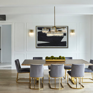 Mid-sized transitional dining room photo in New York with white walls