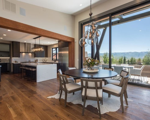 Inspiration For A Rustic Medium Tone Wood Floor Kitchen/dining Room Combo  Remodel In Salt