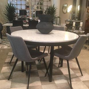 Lulu Caesarstone Custom Made Round Dining Table with black powdercoated base