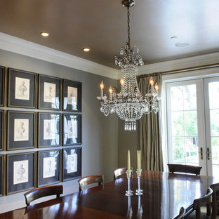 Elegant dining room photo in San Francisco with gray walls