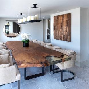 Idee per una sala da pranzo aperta verso il soggiorno contemporanea di medie dimensioni con pareti bianche, pavimento con piastrelle in ceramica, stufa a legna, cornice del camino in intonaco e pavimento bianco