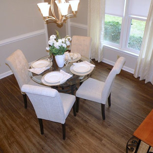 Inspiration For A Mid Sized Timeless Vinyl Floor Kitchen Dining Room Combo Remodel In