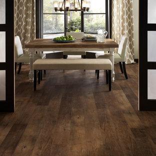 Exemple d'une salle à manger chic avec un sol en vinyl.