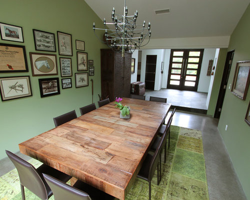 Olive wood reclaimed table hairpin legs dining room design for Olive green dining room ideas