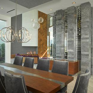 Immagine di una grande sala da pranzo aperta verso il soggiorno minimal con pareti bianche, pavimento in gres porcellanato e camino lineare Ribbon