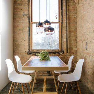 Inspiration for an industrial dark wood floor dining room remodel in Minneapolis