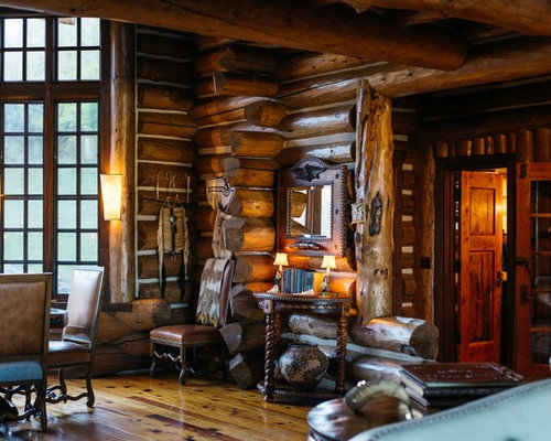 rustic dining room design. Example Of A Mountain Style Medium Tone Wood Floor And Brown Dining Room Design In Rustic R