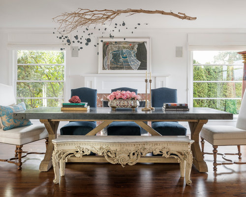 SaveEmail - Hammered Zinc Dining Table Houzz