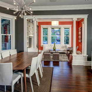 Example of an arts and crafts great room design in Seattle
