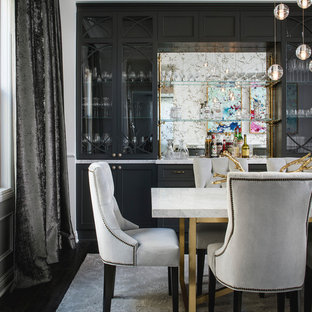 Dining room - mid-sized eclectic dark wood floor dining room idea in San Francisco with white walls
