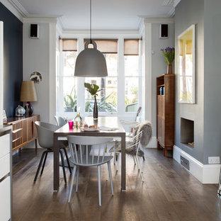 Ejemplo de comedor de cocina actual, de tamaño medio, con paredes multicolor, suelo de madera oscura, chimenea tradicional, marco de chimenea de yeso y suelo marrón