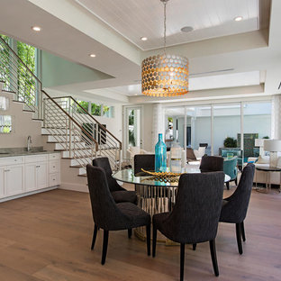 Example of a transitional dining room design in Miami