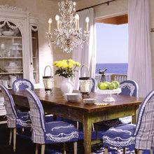 crystal chandelier and farmhouse table
