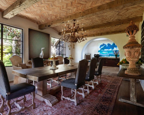 Tuscan Enclosed Dining Room Photo In Los Angeles With Beige Walls Medium Tone Wood Floors