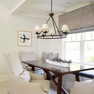 Great room - mid-sized transitional limestone floor great room idea in DC Metro with white walls